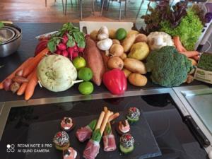 Für unseren Kochkurs alle Lebensmittel aufgebaut